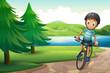 A boy biking near the pine trees at the riverside