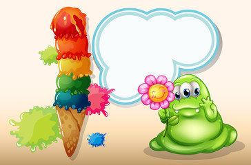 A giant icecream near the monster with a flower