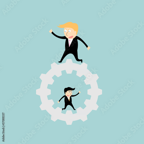businessman walking on big gear