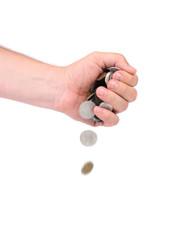 Men hand pour down coins