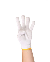 Thin work gloves showing four fingers