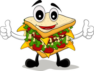 sandwich cartoon thumb up