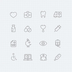 healthy and medical vector thin line symbol icon