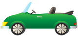 isolated green cartoon cabriolet car