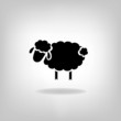 black silhouette of sheep on a light background - 57089351