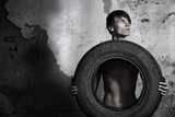 Man with tire
