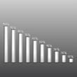 доли процентов на бумажных столбиках на сером фоне