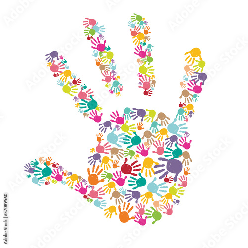 Colorful baby handprint with kids hand vector