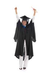 female indian graduate celebrating success isolated on white bac