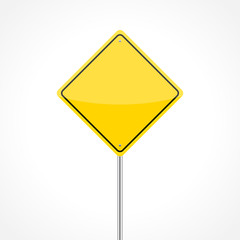 Blank yellow traffic sign isolated on white background