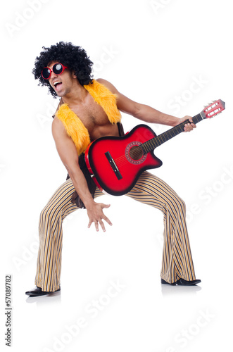 Male guitar player isolated on the white