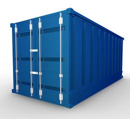 Container blu di metallo da trasporto