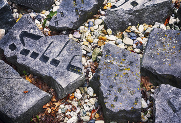 stone by old dutch Jewish cemetery