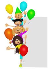 Group of 3d party kids, border