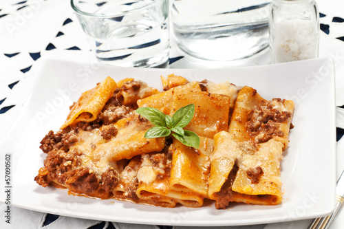 pasta with bechamel and meat sauce and tomatoes
