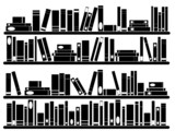 Books on the shelves illustrated on white