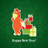 New Year greeting card – horse with with Christmas gifts