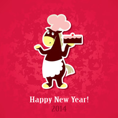 New Year greeting card – horse with a cake