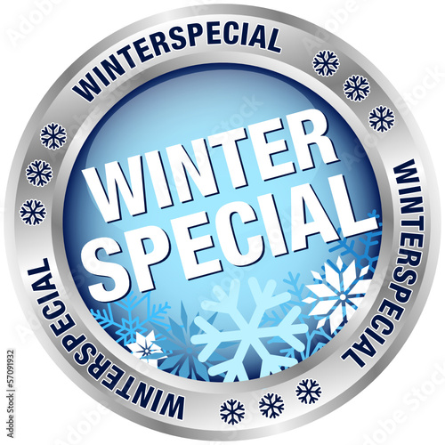 "Button ""Winterspecial"" blau/silber"
