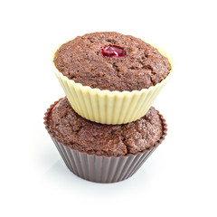 Chocolate muffins with cranberry