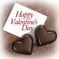 Valentine card.Chocolate hearts.