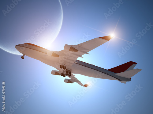 Airplane Taking off with Moon in the Sky