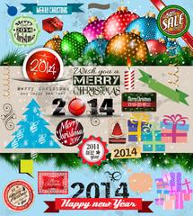 2014 Christmas Vintage typograph design elements