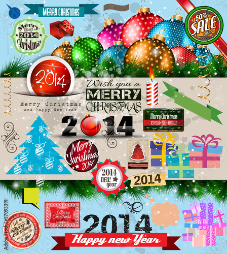 2014 Christmas Vintage typograph design elements