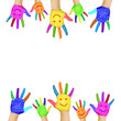 Frame of colorful hands painted with smiling faces.
