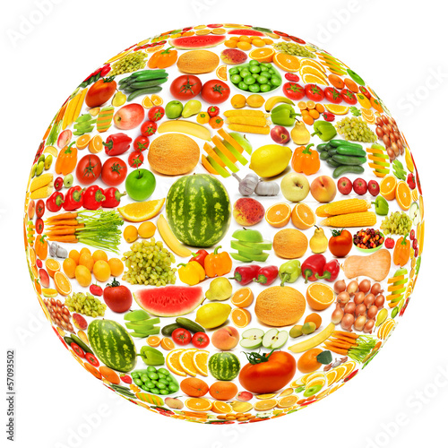 Round shape made from various fruits and vegetables