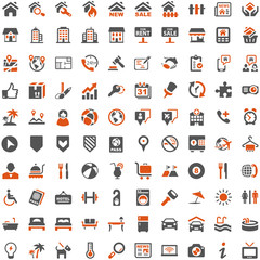 Orange Grey Webicons - Real Estate Buildings Travel Holiday