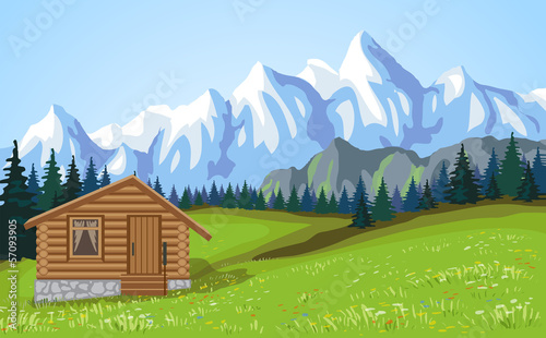 Mountain landscape vith wooden house.