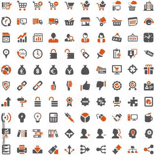 Orange Grey Webicons - Work Business Internet Work