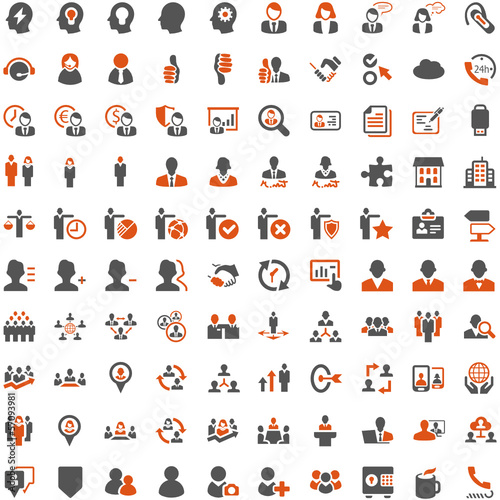 Orange Grey Webicons - People Work Business