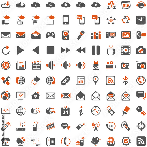 Orange Grey Webicons - Communication Entertainment Social Media