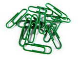 Green Paper Clips Isolated on White Background