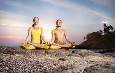 Couple Yoga meditation