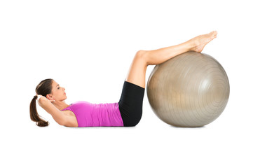 Woman Doing Crunches With Pilate Ball