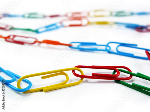 Set of Writing Paper Clips on the White