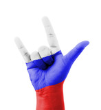 Hand making I love you sign, Russia flag painted