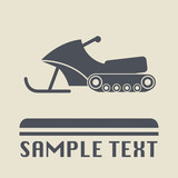 Snowmobile icon or sign, vector illustration