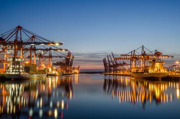 Harbor of Hamburg with container ships