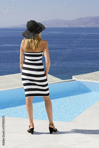 woman in greek villa