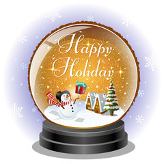 スノーマン スノードーム クリスマス Snowman receiving a xmas gift in snow globe