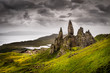 Leinwanddruck Bild - Landscape view of Old Man of Storr rock formation, Scotland