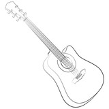 Acoustic guitar. Vector illustration colorless poster