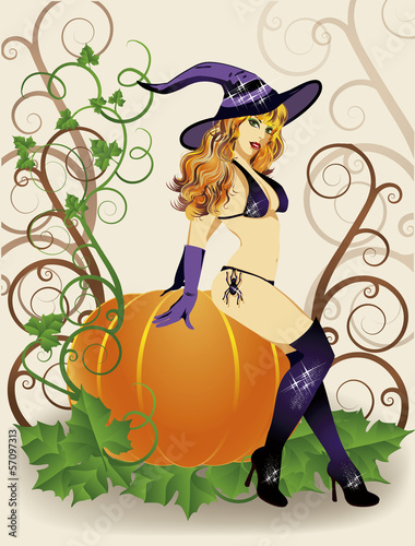 Halloween sexy witch with spider and pumpkin, vector