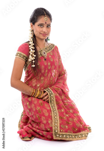 Indian girl in sari clothes