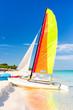 Colorful sailing boat at Varadero beach in Cuba