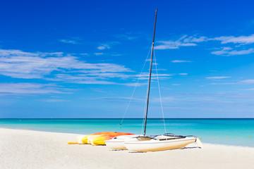 Sailing boat at the famous Varadero beach in Cuba